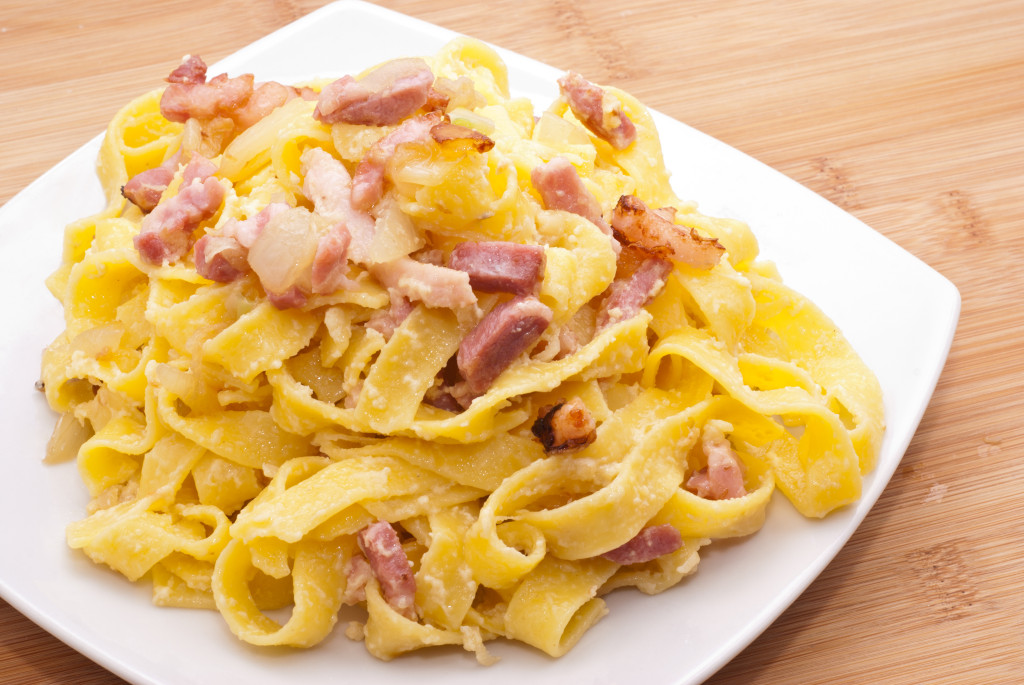 pasta Carbonara with eggs bacon and parmesan